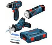 Набор аккумуляторных инструментов: шуруповерт GSR 10.8-Li+GSA+PowerLED BOSCH