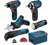Набор аккумуляторных инструментов 5 в 1 (дрель-шуруповёрт + лобзиковая пила  + универсальный резак + фонарь + ножовка