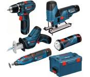 Набор аккумуляторных инструментов 5 в 1 (дрель-шуруповёрт + лобзиковая пила  + многофункциональный инструмент + фонарь + ножовка
